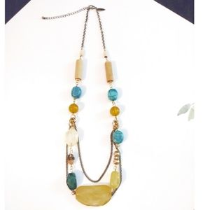 Avenue Gold Turquoise & Wood Beads Necklace